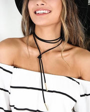 Boho Indie Hippe Fashion Spring Summer Style Outfit Ideas with Black Suede Leather Simple Wrap Choker Necklace at MyBodiArt.com