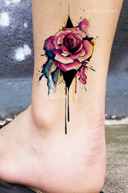 Beautiful Watercolor Floral Flower Rose Ankle Tattoo Ideas for Women -  lindas ideas de tatuajes de tobillo rosa - www.MyBodiArt.com #tattoos