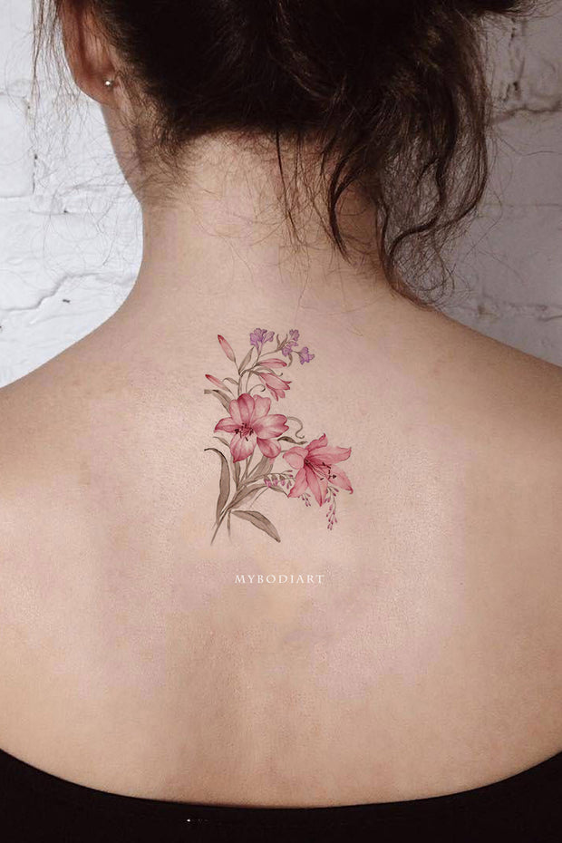 Pink Watercolor Floral Flower Back Tattoo Ideas for Women - tatuaje de espalda de flor rosa - www.MyBodiArt.com