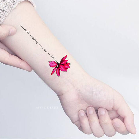 Cute Lotus Wrist Tattoo Ideas Female Watercolor Pink Script Floral Flower Tat - www.MyBodiArt.com #tattoos