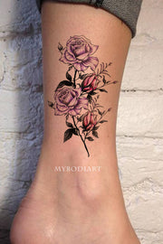 Beautiful Purple Watercolor Floral Floral Ankle Tattoo Ideas for Women -  ideas de tatuajes de tobillo de flores para mujeres - www.MyBodiArt.com #tattoos