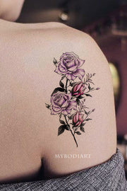 Cute purple watercolor floral flower shoulder tattoo ideas for women -  ideas del tatuaje del hombro de la flor para las mujeres - www.MyBodiArt.com #tattoos