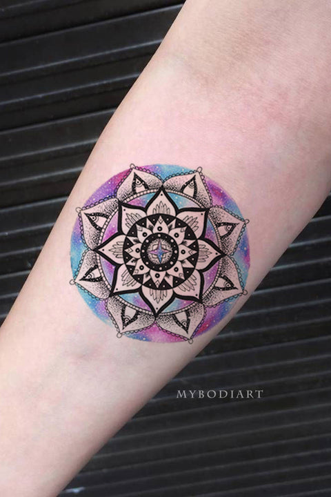 Cute Watercolor Black Mandala Forearm Arm Tattoo Ideas for Women -  ideas de tatuajes de antebrazo mandala - www.MyBodiArt.com #tattoos