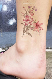 Pink Watercolor Floral Flower Ankle Tattoo Ideas for Women - tatuaje de espalda de flor rosa - www.MyBodiArt.com