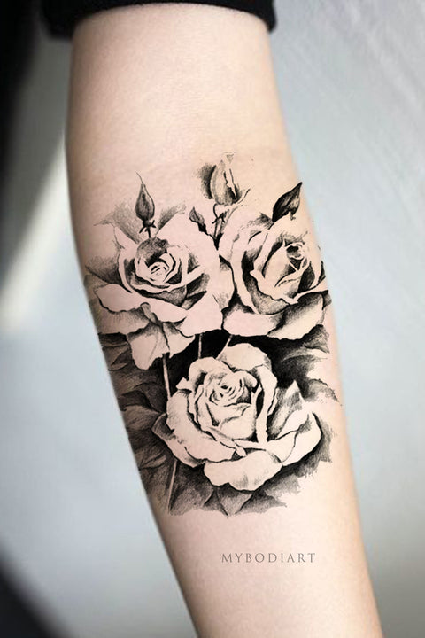 Popular Black Rose Floral Flower Forearm Arm Sleeve Tattoo Ideas for Women -  Ideas de tatuaje de antebrazo rosa negro para mujeres - www.MyBodiArt.com