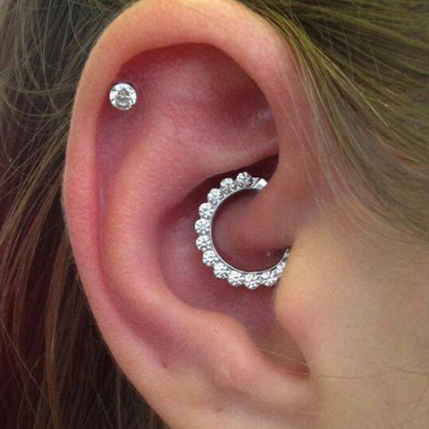 Cute Daith Ear Piercing Ideas for Women for Teens Simple Crystal Clicker Cartilage Earring Jewelry Stud -  linda daith ideas piercing oreja simple para las mujeres - www.MyBodiArt.com