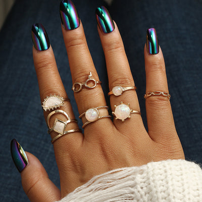 Cute Opal Boho Ring Set for Teens Sun Gemstone Modern Midi Knuckle Stackable Gypsy Fashion Rings in Gold - www.MyBodiArt.com #rings