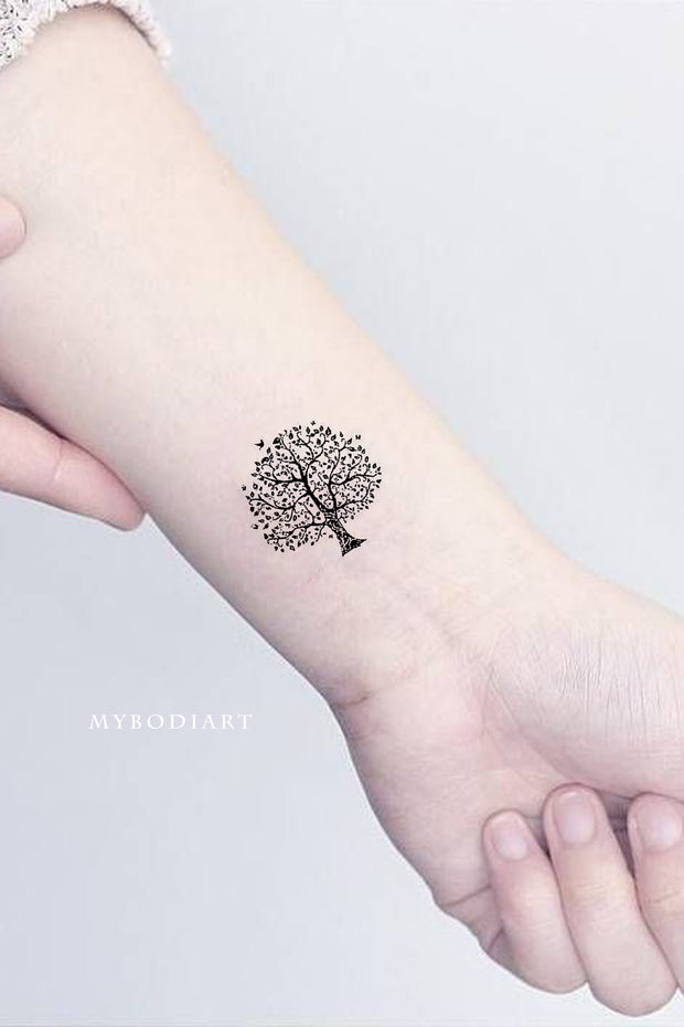 Cute Small Nature Tree Wrist Temporary Tattoo Ideas for Women - www.MyBodiArt.com