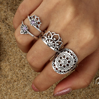 Lotus Boho Fashion Rings Set Chunky Mandala Vintage Antiqued Silver Stackable Midi Rings Bohemian Jewelry  - www.MyBodiArt.com #rings