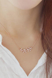 Cute Dainty Crystal Leaf Pendant Floating Chain Choker Necklace Fashion Jewelry For Women - www.MyBodiArt.com