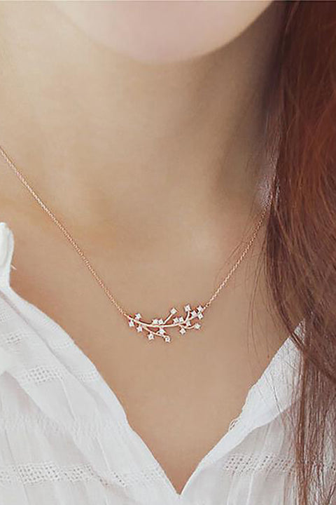 Tanaka Cute Dainty Floating Leaf Chain Choker Necklace