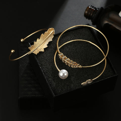 Cute Boho Stacked Bracelet Set Feather Gold Pearl Summer Fashion Jewelry - www.MyBodiArt.com #bracelets