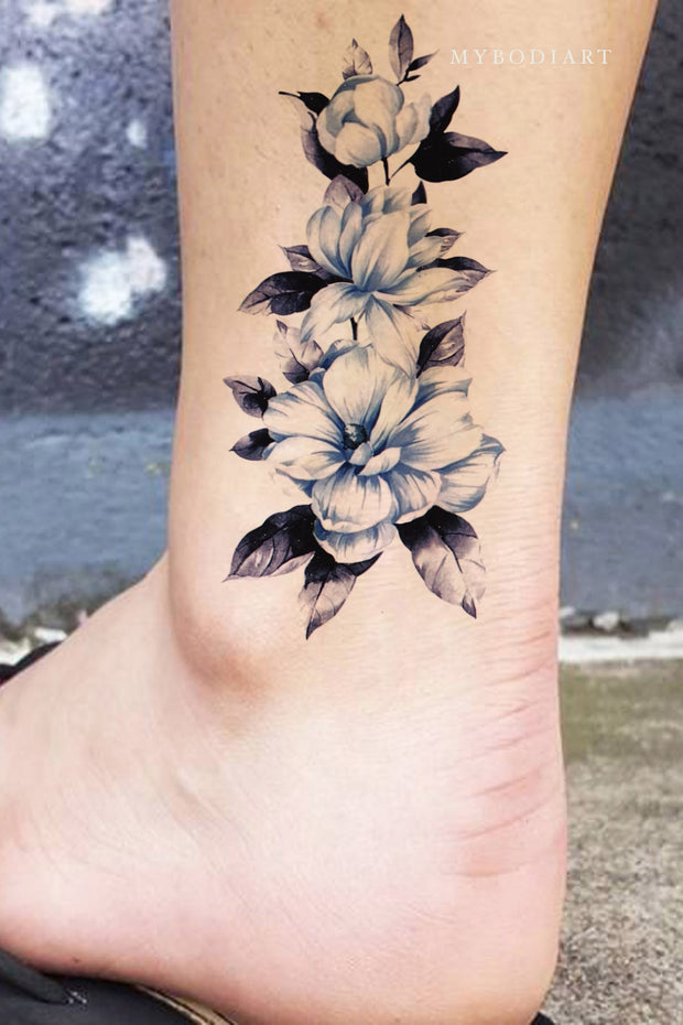 VIntage Blue Watercolor Floral Flower Ankle Leg Tattoo Ideas for Women -  Ideas de tatuaje de tobillo de flor azul para mujeres - www.MyBodiArt.com