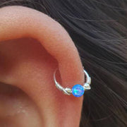 Cute Blue Opal Cartilage Gold Hoop Ear Piercing Earring Ring 16G - ideas de piercing de oreja para las mujeres - www.MyBodiArt.com