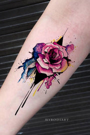 Cute Watercolor Floral Flower Rose Forearm Tattoo Ideas for Women -  acuarelas rosas ideas del tatuaje del antebrazo - www.MyBodiArt.com