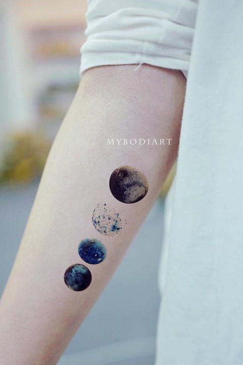 Cute Beautiful Watercolor Moon Planets Forearm Tattoo Ideas for Women -  ideas de tatuaje de antebrazo de luna - www.MyBodiArt.com