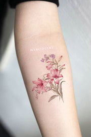 Delicate Pink Watercolor Floral Flower Forearm Tattoo Ideas for Women - www.MyBodiArt.com