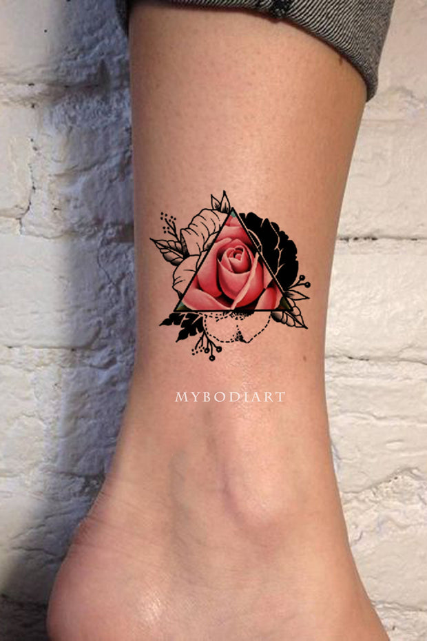 Cute Small Pink Watercolor Triangle Ankle Tattoo Ideas for Women -  ideas de tatuajes de tobillo rosa para mujeres - www.MyBodiArt.com