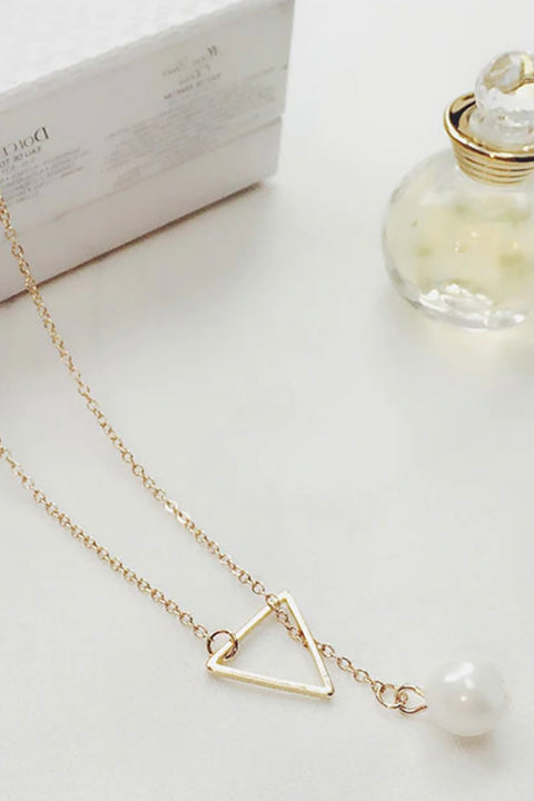 Cute Simple Minimalist Dainty Triangle Pearl Necklace Fashion Jewelry for Women -  collares lindos - www.MyBodiArt.com