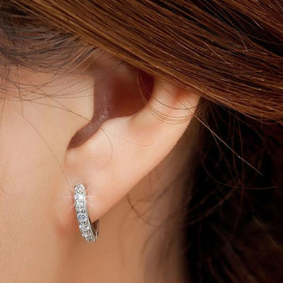 Small Simple Dainty Crystal Hoop Huggie Earring Fashion Jewelry for Women - www.MyBodiArt.com