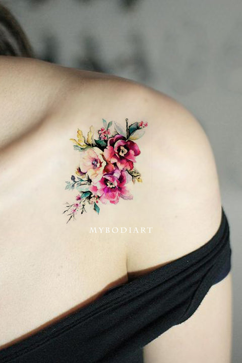 Small Beautiful Watercolor Vintage Floral Flower Shoulder Tattoo Ideas for Women -  Ideas de tatuajes de flores de acuarela para mujeres - www.MyBodiArt.com