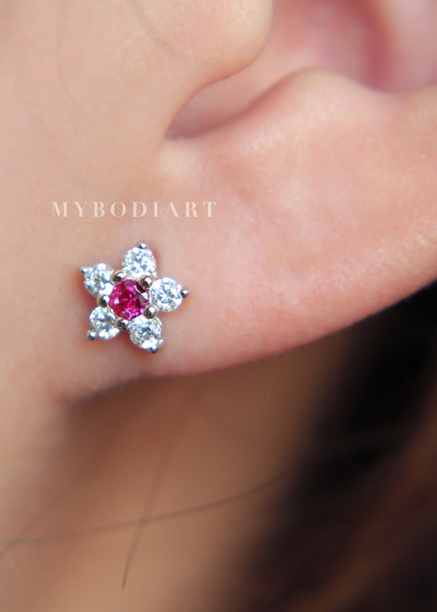 Cute Simple Multiple Ear Piercing Ideas for Teens - Small Dainty Pink Crystal Flower Cartilage Helix Lobe Conch Earring Studs - lindos pendientes de piercings de oreja de cartílago de flor de cristal delicada - www.MyBodiArt.com #earrings