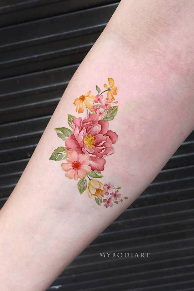 Beautiful Vintage Floral Flower Forearm Tattoo Ideas for Women -  ideas de tatuajes de flores en el antebrazo - www.MyBodiArt.com #tattoos