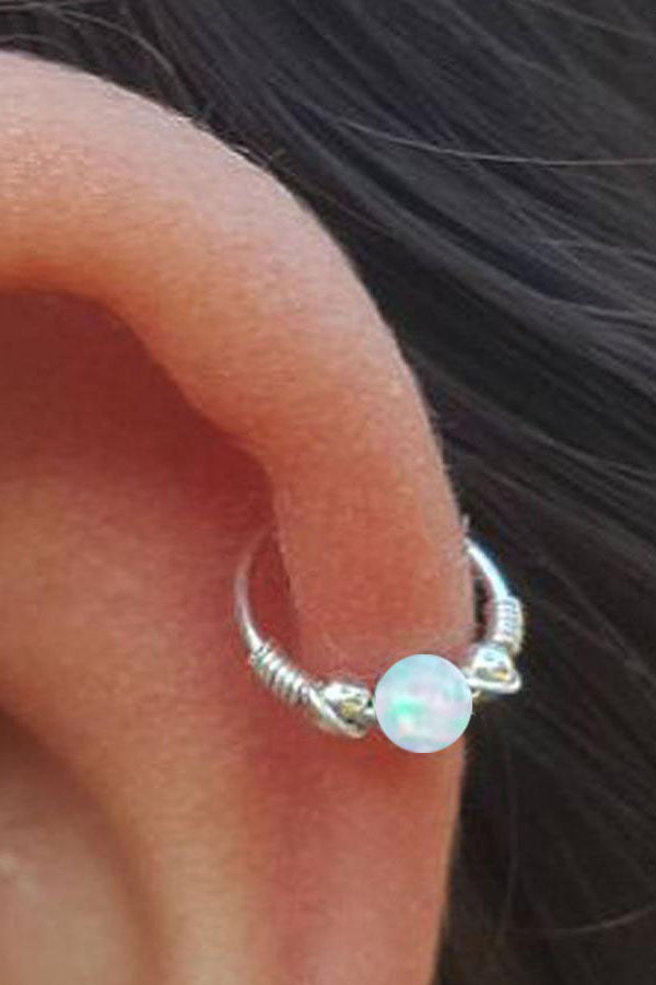 Cute Cartilage Ear Piercing Ideas - Silver Opal Helix Hoop Earring for Women Teens Girls -  ideas de piercing de oreja de cartílago lindo - www.MyBodiArt.com
