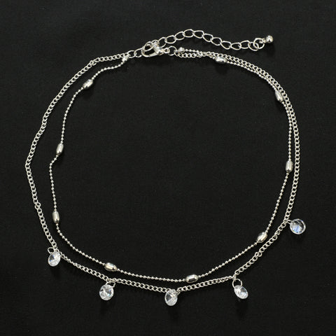 Cute Layered Chain Choker Necklace for Teens Simple Dainty Minimalist Coin Pendant Necklaces in  Silver for Women - collar gargantilla cadena linda y delicada - www.MyBodiArt.com #necklace