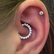 Cute Daith Ear Piercing Ideas for Women Simple Crystal Daith Clicker Ring Migraine 16G -  lindas ideas para perforar orejas - www.MyBodiArt.com