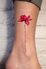 Pink Watercolor Lotus Ankle Tattoo Ideas for Women - Ideas de tatuaje de tobillo de acuarela de loto para mujeres - www.MyBodiArt.com #tattoos