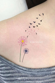Cute Watercolor Pink Black & White Shoulder Tattoo Ideas for Women -  ideas florales del tatuaje del hombro para las mujeres - www.MyBodiArt.com #tattoos