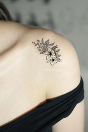 Small Vintage Black Floral Flower Shoulder Tattoo Ideas for Women -  tatuaje de hombro de flor negra - www.MyBodiArt.com