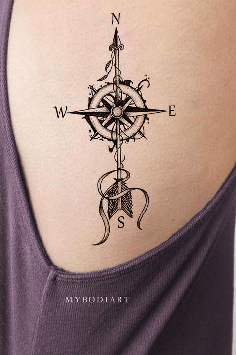 Beautiful Black Compass Rib Tattoo Ideas for Women - ideas de tatuajes de costillas de brújula para mujeres - www.MyBodiArt.com #tattoos