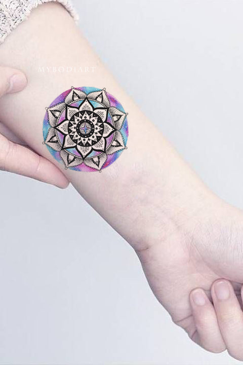 Cool Unique Watercolor Rainbow Mandala Wrist Tattoo Ideas for Women -  ideas de tatuajes de muñeca mandala para mujeres - www.MyBodiArt.com #tattoos