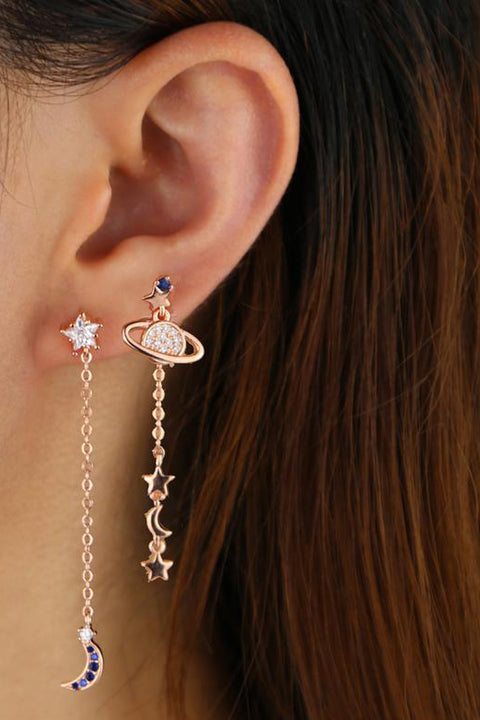 Sai Moon & Stars Planet Chain Drop Earring Studs