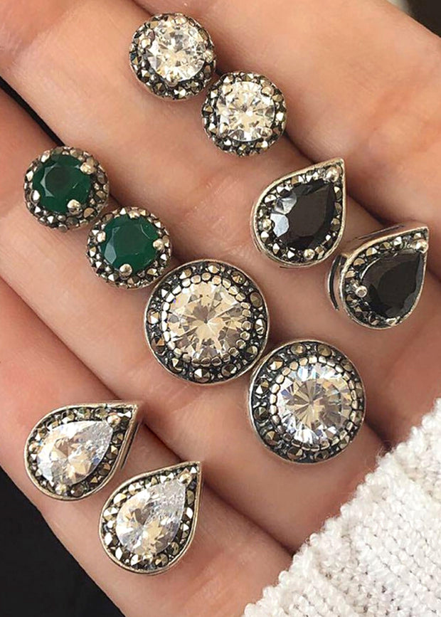Pretty Victorian Gemstone Studs Earrings - Cute Traditional Vintage Antique Old Fashioned Classy Crystal Emerald Black Earring Set - www.MyBodiArt.com #earrings