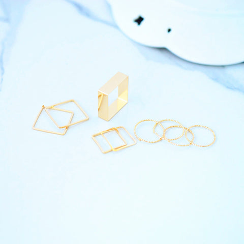 Simple Minimal Gold Ring Set for Teens for Women Midi Knuckle Stackable Square Circle Fashion Rings in Gold - www.MyBodiArt.com #rings