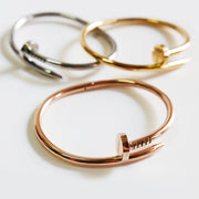 Cute Unique Modern Screw Nail Bangle Bracelet Stacked - www.MyBodiArt.com