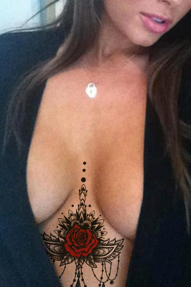 Unique Rose Sternum Tattoo Ideas for Women - Black Henna Chandelier Mandala Jewelry Underboob Tat Tribal  - Ideas únicas del tatuaje del esternón color de rosa para las mujeres  - www.MyBodiArt.com