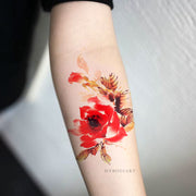 Beautiful Watercolor Floral Flower Forearm Tattoo Ideas for Women -  Ideas lindas del tatuaje del brazo de la flor para las mujeres - www.MyBodiArt.com