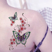 beautiful Watercolor Butterfly Floral Flower Shoulder Temporary Tattoo Ideas for Women -  Mariposa hombro tatuaje ideas para mujeres - www.MyBodiArt.com