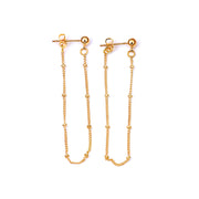 Lila Minimalist Drop Chain Ball Ear Jacket Earrings Gold - www.MyBodiArt.com