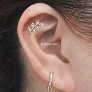 Pretty Leaf Helix Cartilage Ear Piercing Jewelry Ideas Curated Crystal Leaf Dangle Earring for Helix - www.MyBodiArt.com