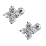 Clover Crystal Flower Ear Piercing Jewelry 16G Earring Studs for Cartilage, Helix, Tragus, Conch in Silver - www.MyBodiArt.com #earrings