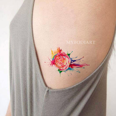 Women's Unique Small Melting Rose Rib Tattoo Ideas for Teen Girls Colorful Rainbow Watercolor Splat Side Tat - arco iris rosa costilla tatuaje ideas para mujeres - www.MyBodiArt.com #tattoos