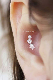 Cute Triple Star Conch Ear Piercing Jewelry Ideas for Women -  ideas de joyería piercing en la oreja - www.MyBodiArt.com #piercings