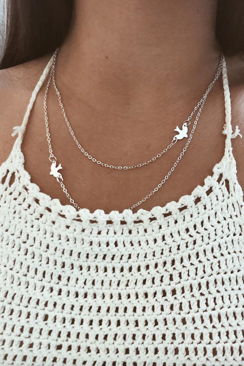 Cute Dainty Double Layered Bird Sparrow Chain Choker Necklace Fashion Jewelry for Teen Girls Women in Gold or Silver -  collares lindos - www.MyBodiArt.com