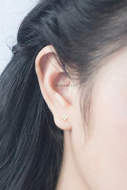 Cute Flower Clover Minimal Dainty Earring Studs Ear Piercing Jewelry for Women for Cartilage Tragus Helix Conch - www.MyBodiArt.com
