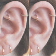 Pretty Curate Simple Ring Hoop Rook Cartilage Helix Earlobe Ear Piercing Jewelry Ideas for Women -  ideas de joyería piercing en la oreja - www.MyBodiArt.com #piercings #earrings